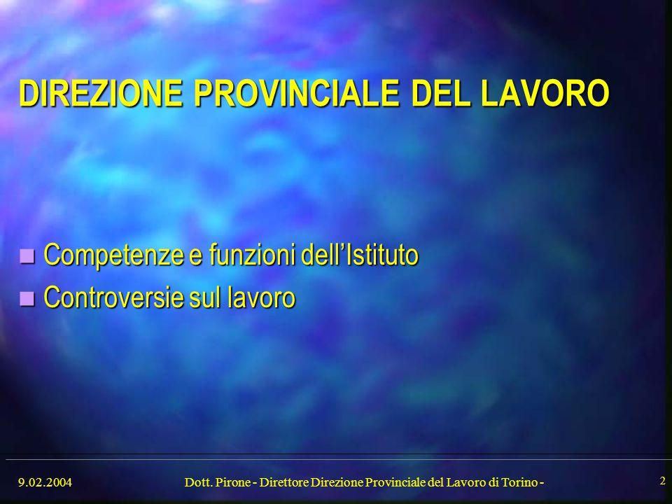 9.02.2004Dott. Pirone - Direttore Direzione Provinciale del Lavoro di Torino - 2 DIREZIONE PROVINCIALE DEL LAVORO Competenze e funzioni dell'Istituto