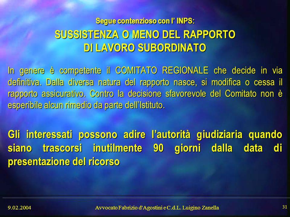 9.02.2004Avvocato Fabrizio d'Agostini e C.d.L. Luigino Zanella 31 Segue contenzioso con l' INPS: SUSSISTENZA O MENO DEL RAPPORTO DI LAVORO SUBORDINATO
