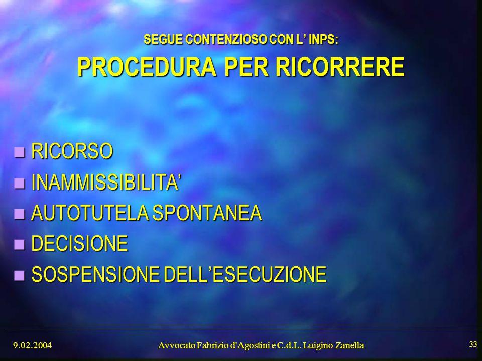 9.02.2004Avvocato Fabrizio d'Agostini e C.d.L. Luigino Zanella 33 SEGUE CONTENZIOSO CON L' INPS: PROCEDURA PER RICORRERE RICORSO RICORSO INAMMISSIBILI
