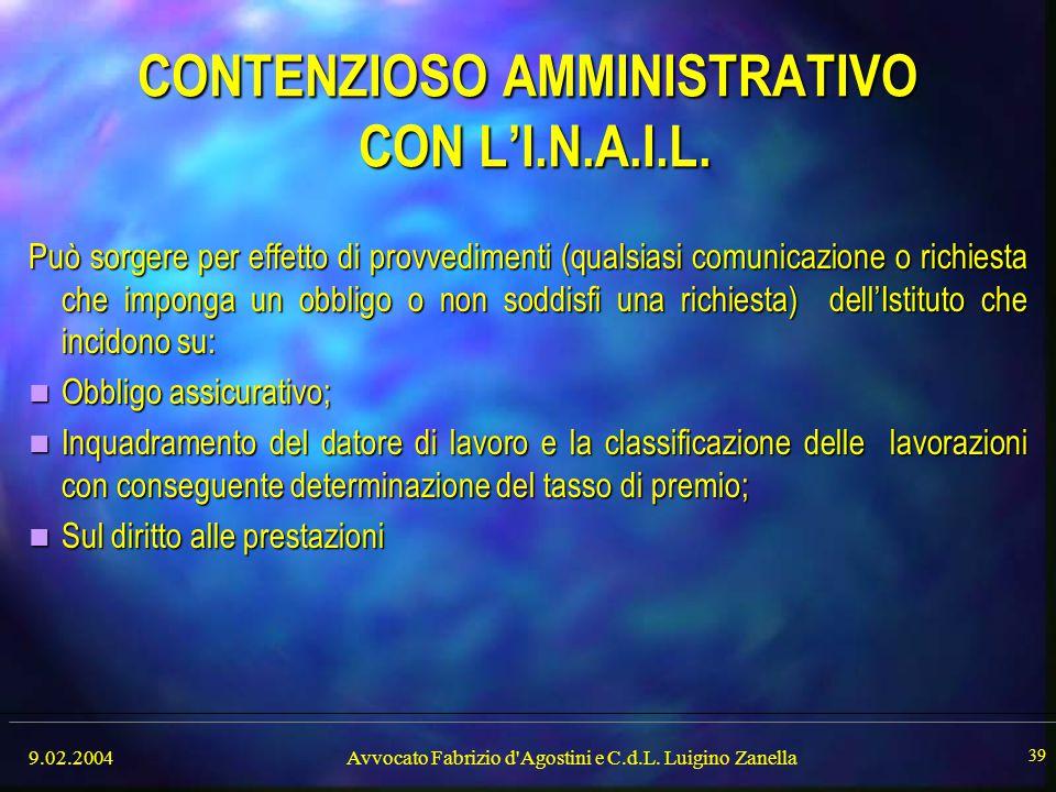 9.02.2004Avvocato Fabrizio d'Agostini e C.d.L. Luigino Zanella 39 CONTENZIOSO AMMINISTRATIVO CON L'I.N.A.I.L. Può sorgere per effetto di provvedimenti