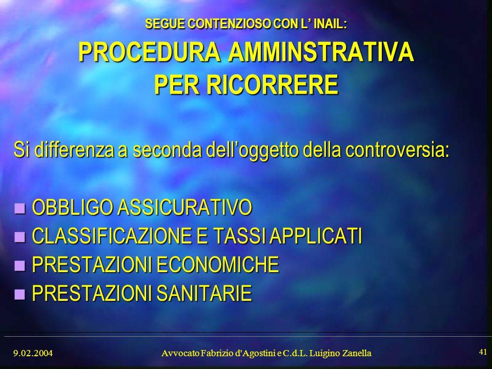 9.02.2004Avvocato Fabrizio d'Agostini e C.d.L. Luigino Zanella 41 SEGUE CONTENZIOSO CON L' INAIL: PROCEDURA AMMINSTRATIVA PER RICORRERE Si differenza