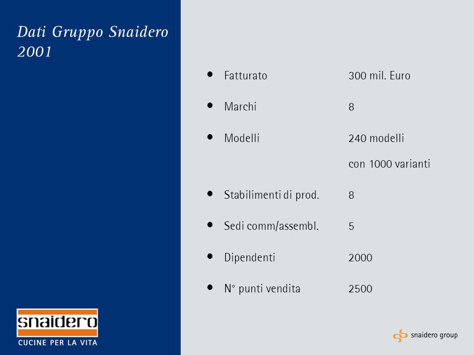 Dati Gruppo Snaidero 2001 Fatturato300 mil. Euro Marchi8 Modelli240 modelli con 1000 varianti Stabilimenti di prod.8 Sedi comm/assembl.5 Dipendenti200