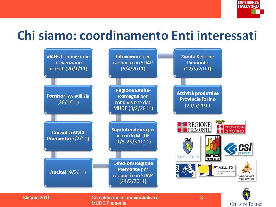 Chi siamo: coordinamento Enti interessati VV.FF. Commissione prevenzione incendi (20/1/11) Fornitori sw edilizia (26/1/11) Consulta ANCI Piemonte (7/2