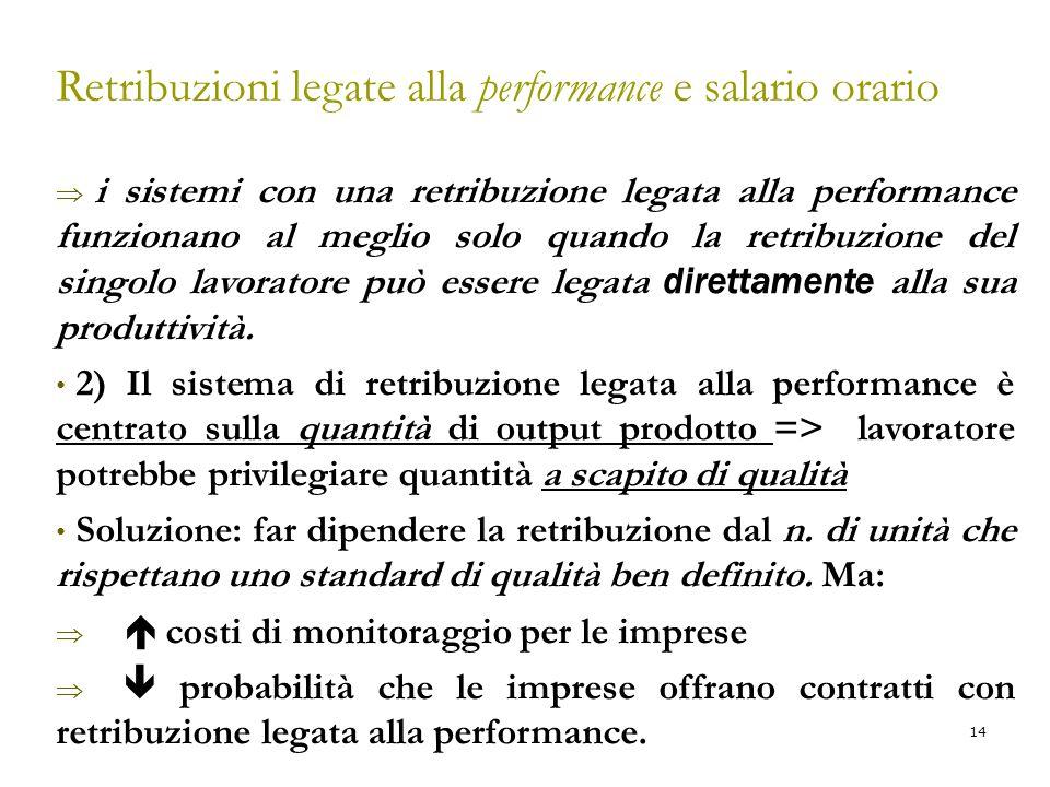 14 Retribuzioni legate alla performance e salario orario  i sistemi con una retribuzione legata alla performance funzionano al meglio solo quando la