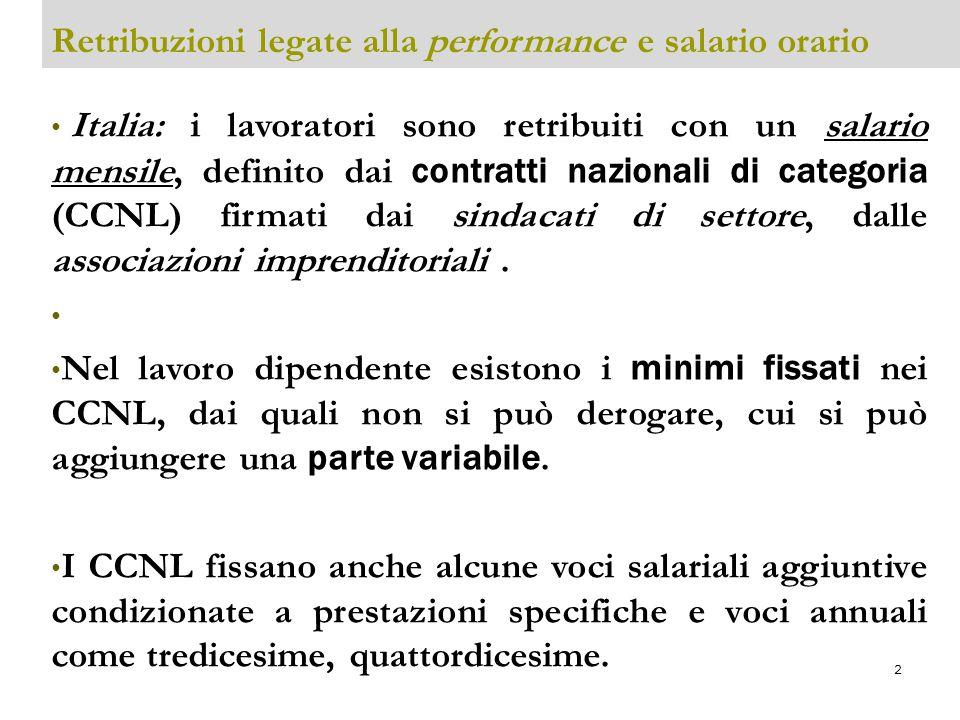 3 Retribuzioni legate alla performance e salario orario I CCNL fissano un orario contrattuale settimanale standard (tra 38 e 40 ore) e i permessi orari retribuiti (malattie e maternità inclusi) le ferie e altro.