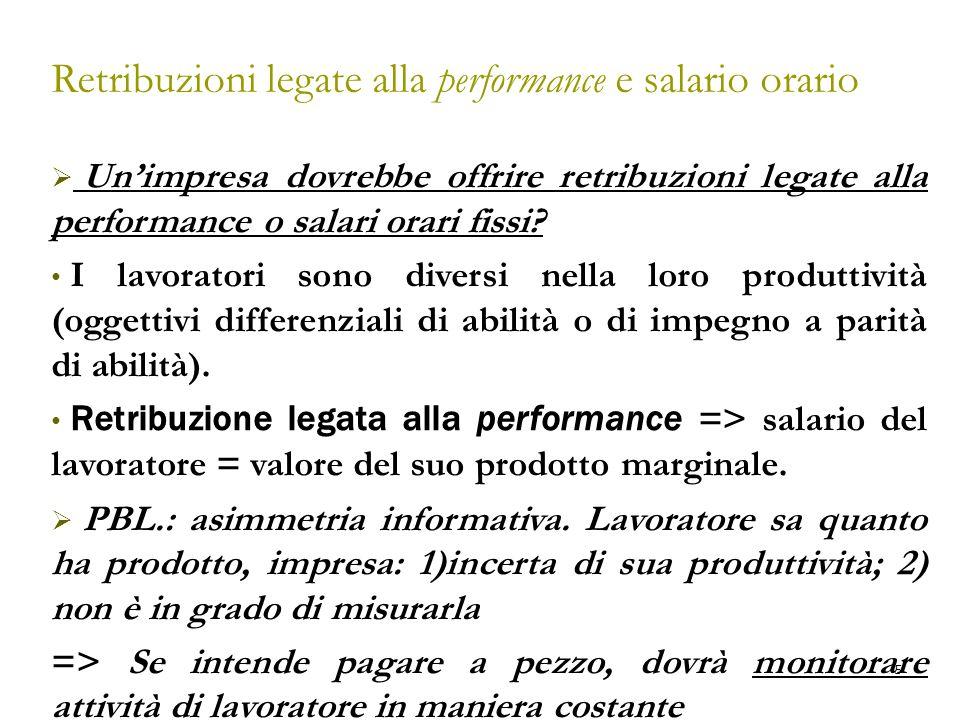 6 Retribuzioni legate alla performance e salario orario Ma monitoraggio ha un costo (opportunità): le risorse necessarie per un continuo monitoraggio potrebbero però essere utilizzate dall'impresa in altri modi (e.g.