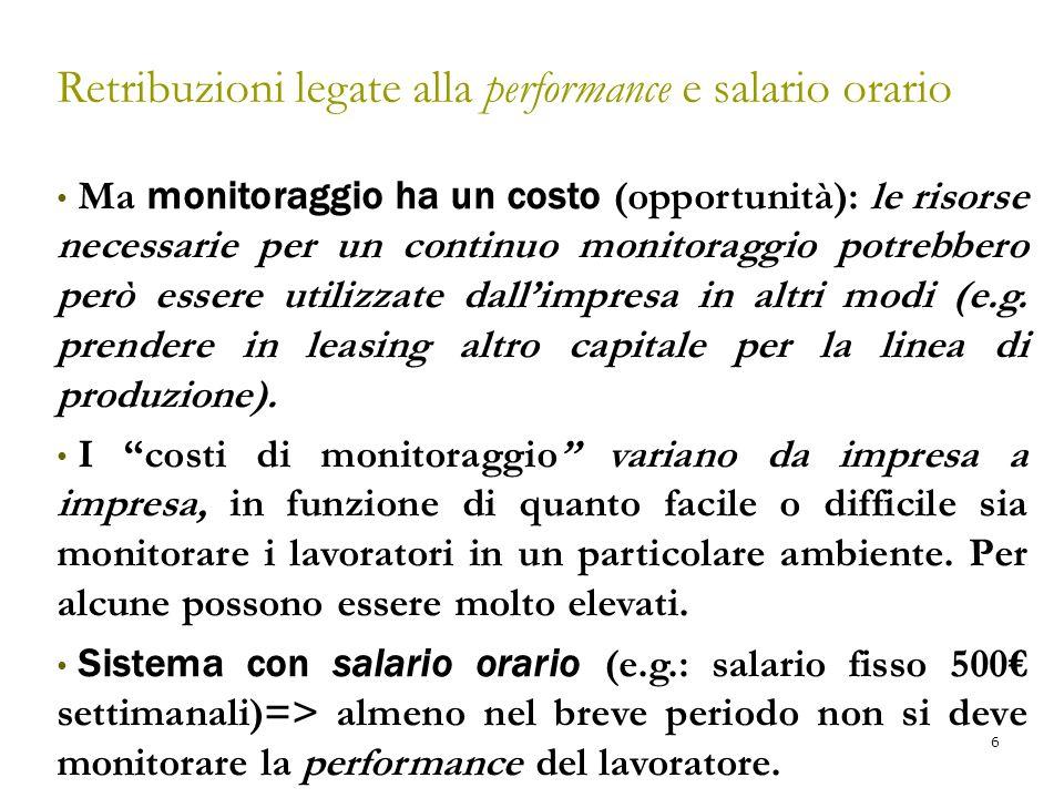 7 Figura 11 - 1 Scelta dell'output/impegno per lavoratori con retribuzione legata alla performance La retribuzione legata alla performance è r euro per unità di output, così il beneficio marginale di un'unità in più di output è uguale a r.