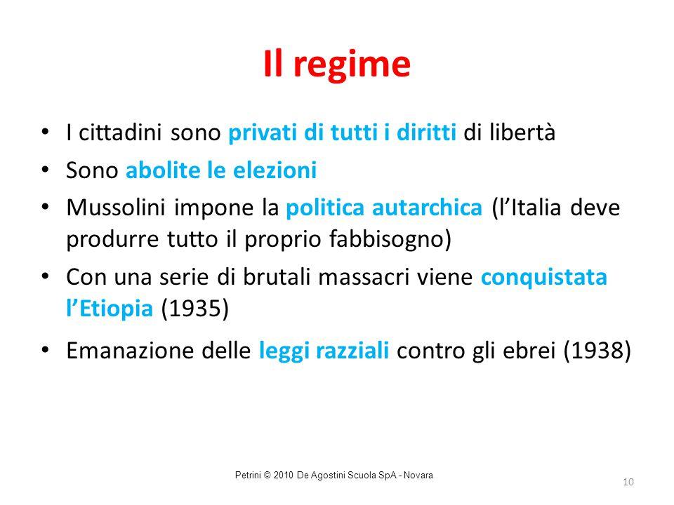 10 Il regime I cittadini sono privati di tutti i diritti di libertà Sono abolite le elezioni Mussolini impone la politica autarchica (l'Italia deve pr