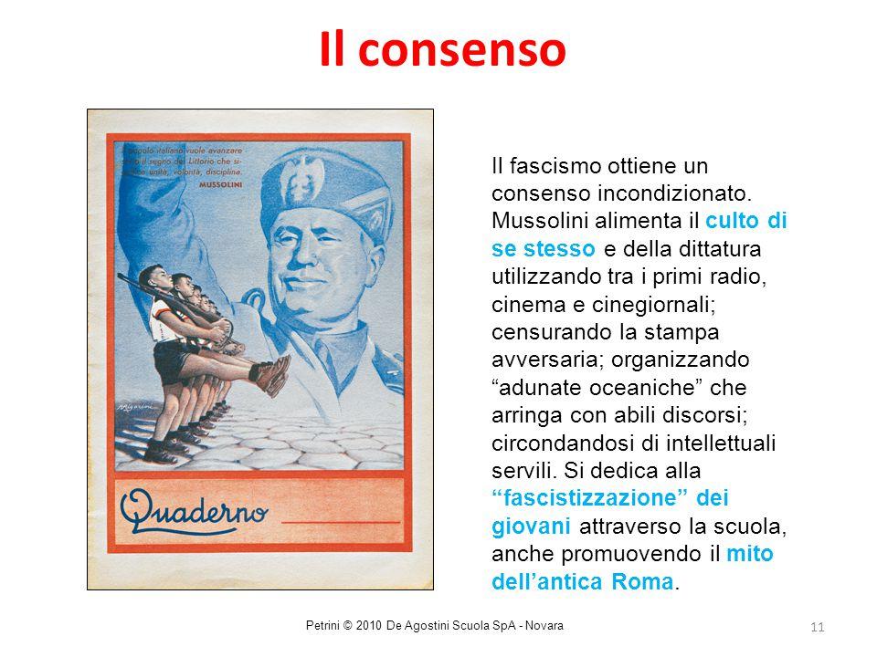 11 Il consenso Il fascismo ottiene un consenso incondizionato. Mussolini alimenta il culto di se stesso e della dittatura utilizzando tra i primi radi