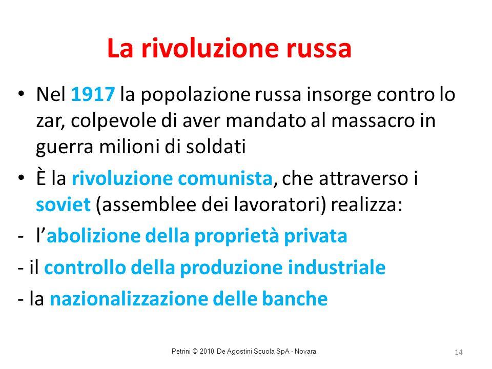 14 La rivoluzione russa Nel 1917 la popolazione russa insorge contro lo zar, colpevole di aver mandato al massacro in guerra milioni di soldati È la r