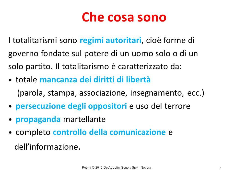 2 Che cosa sono I totalitarismi sono regimi autoritari, cioè forme di governo fondate sul potere di un uomo solo o di un solo partito. Il totalitarism