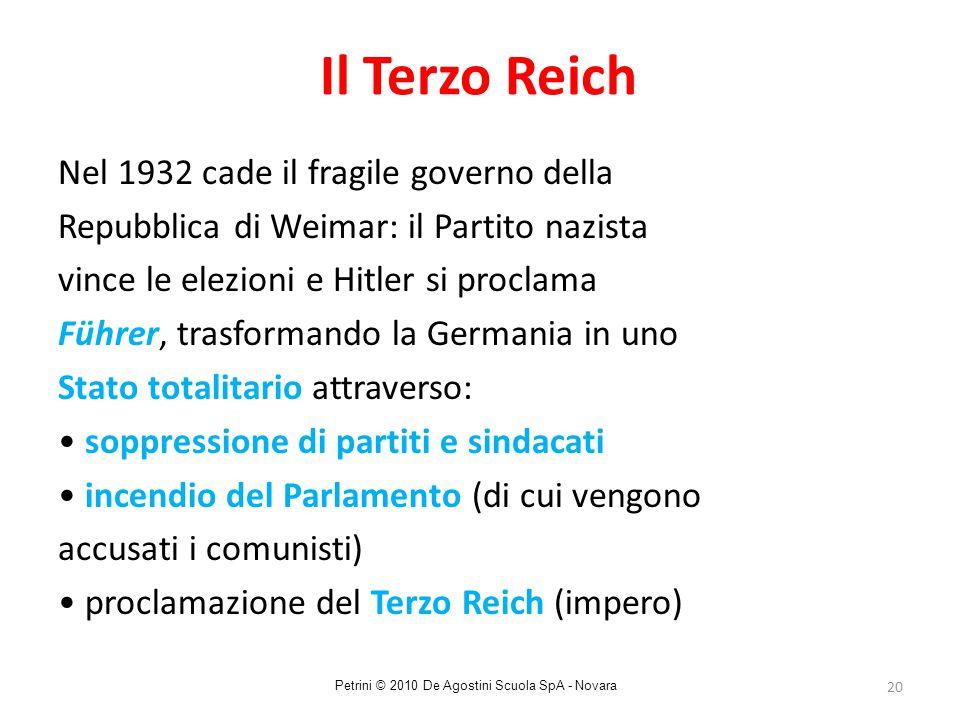 20 Il Terzo Reich Nel 1932 cade il fragile governo della Repubblica di Weimar: il Partito nazista vince le elezioni e Hitler si proclama Führer, trasf