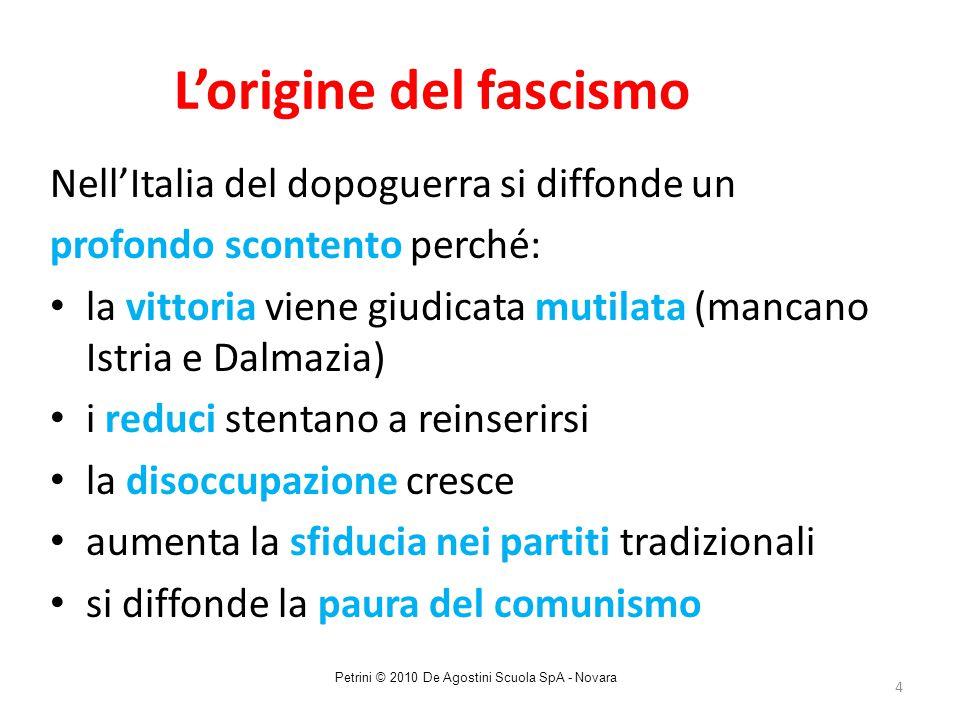 4 L'origine del fascismo Nell'Italia del dopoguerra si diffonde un profondo scontento perché: la vittoria viene giudicata mutilata (mancano Istria e D