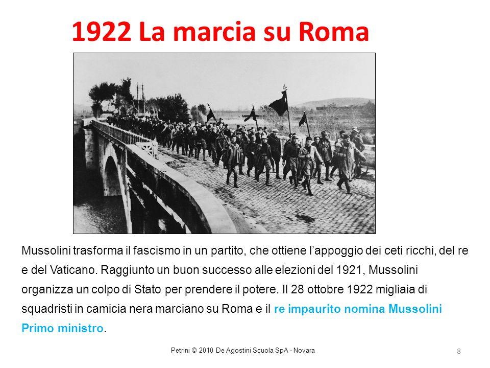8 1922 La marcia su Roma Mussolini trasforma il fascismo in un partito, che ottiene l'appoggio dei ceti ricchi, del re e del Vaticano. Raggiunto un bu
