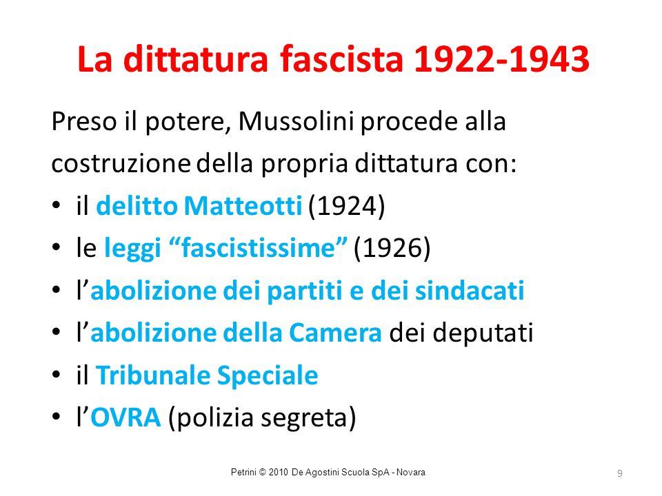 9 La dittatura fascista 1922-1943 Preso il potere, Mussolini procede alla costruzione della propria dittatura con: il delitto Matteotti (1924) le legg