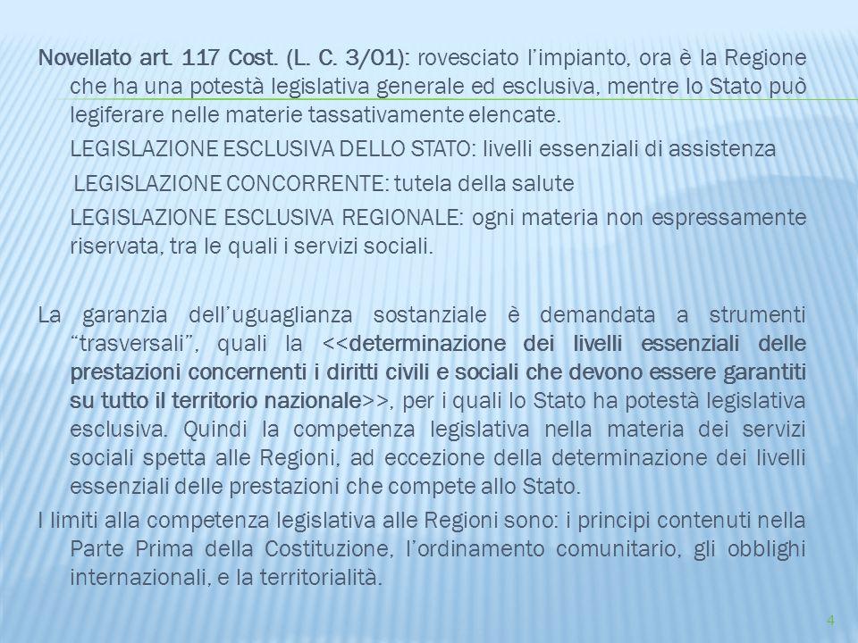 Novellato art. 117 Cost. (L. C.