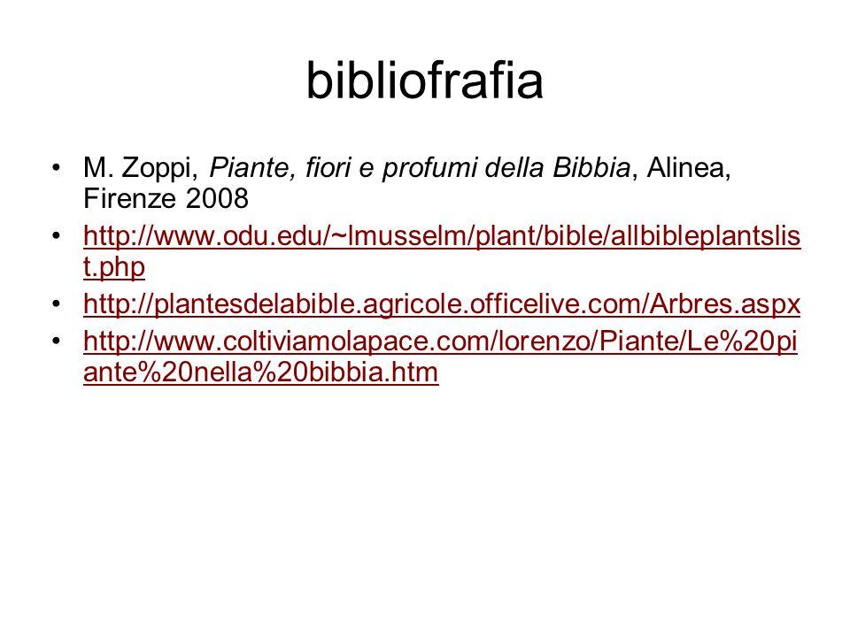 bibliofrafia M. Zoppi, Piante, fiori e profumi della Bibbia, Alinea, Firenze 2008 http://www.odu.edu/~lmusselm/plant/bible/allbibleplantslis t.phphttp