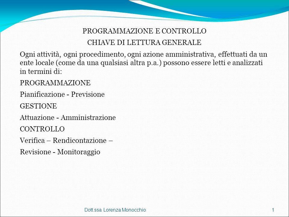 Dott.ssa Lorenza Monocchio1 PROGRAMMAZIONE E CONTROLLO CHIAVE DI LETTURA GENERALE Ogni attività, ogni procedimento, ogni azione amministrativa, effett