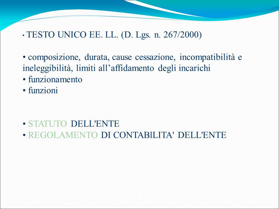 TESTO UNICO EE. LL. (D. Lgs. n. 267/2000) composizione, durata, cause cessazione, incompatibilità e ineleggibilità, limiti all'affidamento degli incar