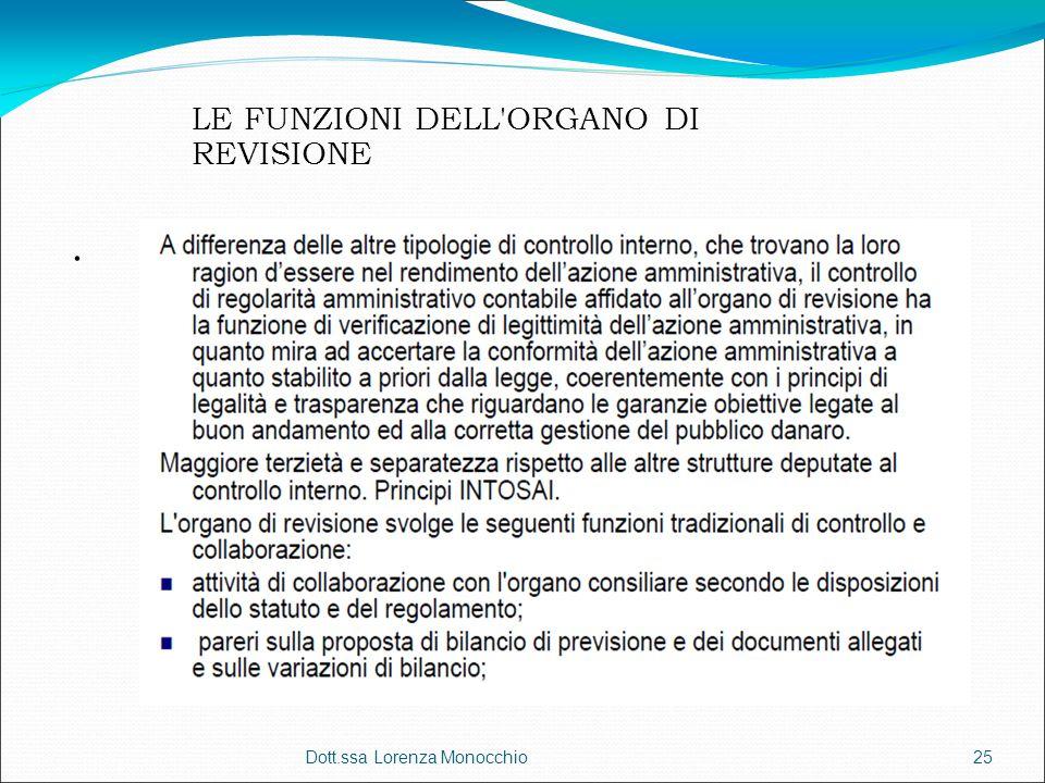 . Dott.ssa Lorenza Monocchio25 LE FUNZIONI DELL'ORGANO DI REVISIONE