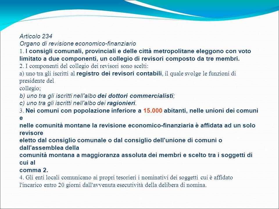 Articolo 234 Organo di revisione economico-finanziario 1. I consigli comunali, provinciali e delle città metropolitane eleggono con voto limitato a du