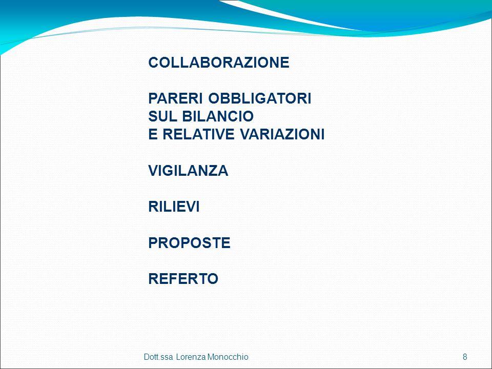 Dott.ssa Lorenza Monocchio8 COLLABORAZIONE PARERI OBBLIGATORI SUL BILANCIO E RELATIVE VARIAZIONI VIGILANZA RILIEVI PROPOSTE REFERTO