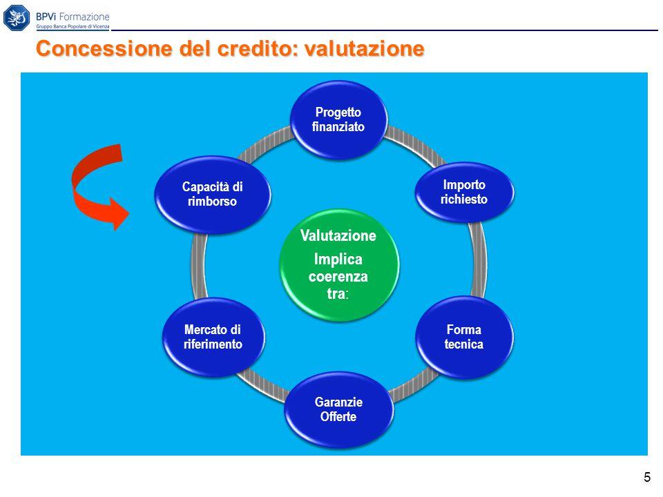 5 Valutazione Implica coerenza tra : Progetto finanziato Importo richiesto Forma tecnica Garanzie Offerte Mercato di riferimento Capacità di rimborso Concessione del credito: valutazione