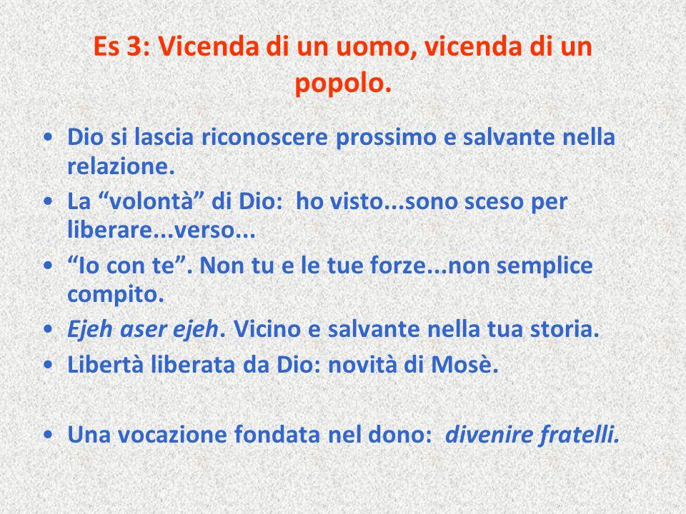 """Es 3: Vicenda di un uomo, vicenda di un popolo. Dio si lascia riconoscere prossimo e salvante nella relazione. La """"volontà"""" di Dio: ho visto...sono sc"""
