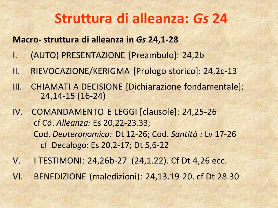Struttura di alleanza: Gs 24 Macro- struttura di alleanza in Gs 24,1-28 I. (AUTO) PRESENTAZIONE [Preambolo]: 24,2b II. RIEVOCAZIONE/KERIGMA [Prologo s