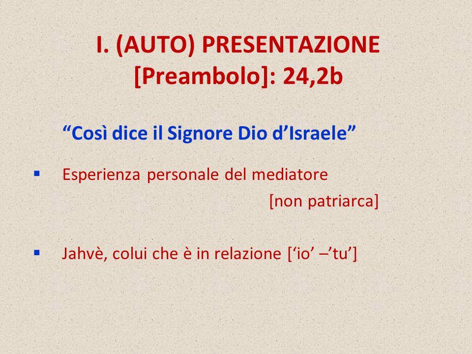 """I. (AUTO) PRESENTAZIONE [Preambolo]: 24,2b """"Così dice il Signore Dio d'Israele""""  Esperienza personale del mediatore [non patriarca]  Jahvè, colui ch"""