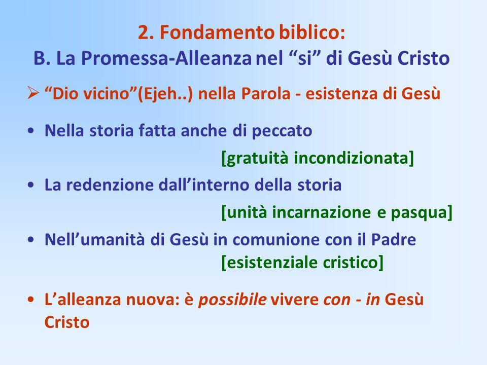 """2. Fondamento biblico: B. La Promessa-Alleanza nel """"si"""" di Gesù Cristo  """"Dio vicino""""(Ejeh..) nella Parola - esistenza di Gesù Nella storia fatta anch"""
