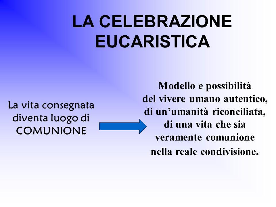 LA CELEBRAZIONE EUCARISTICA La vita consegnata diventa luogo di COMUNIONE Modello e possibilità del vivere umano autentico, di un'umanità riconciliata