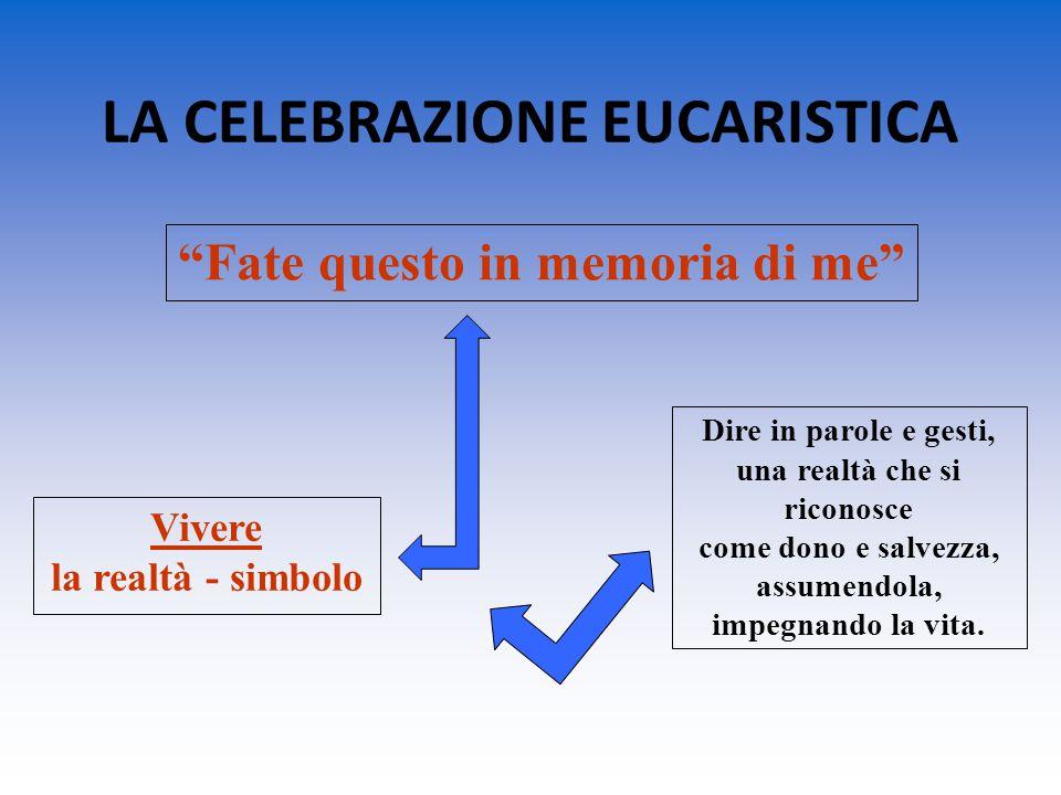 """LA CELEBRAZIONE EUCARISTICA """"Fate questo in memoria di me"""" Vivere la realtà - simbolo Dire in parole e gesti, una realtà che si riconosce come dono e"""
