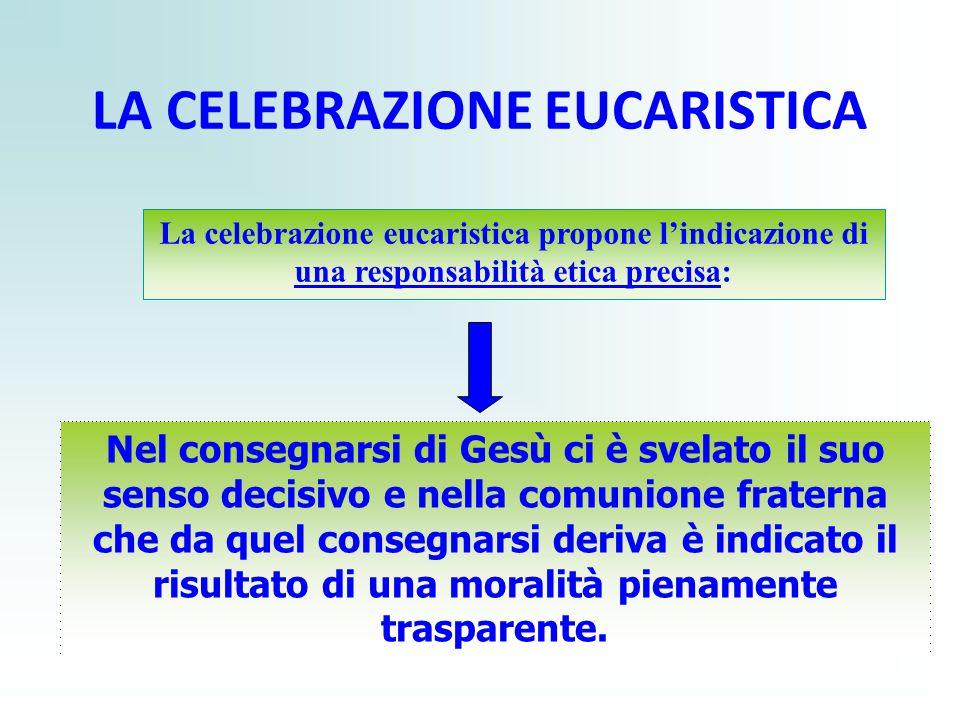 LA CELEBRAZIONE EUCARISTICA La celebrazione eucaristica propone l'indicazione di una responsabilità etica precisa: Nel consegnarsi di Gesù ci è svelat