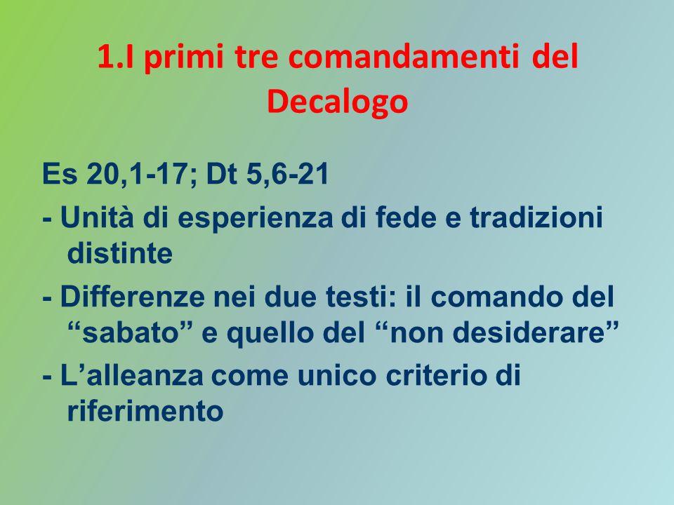 1.I primi tre comandamenti del Decalogo Es 20,1-17; Dt 5,6-21 - Unità di esperienza di fede e tradizioni distinte - Differenze nei due testi: il coman