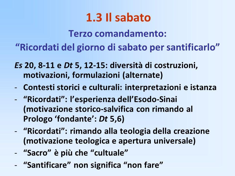 """1.3 Il sabato Terzo comandamento: """"Ricordati del giorno di sabato per santificarlo"""" Es 20, 8-11 e Dt 5, 12-15: diversità di costruzioni, motivazioni,"""