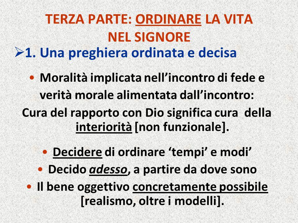 TERZA PARTE: ORDINARE LA VITA NEL SIGNORE  1. Una preghiera ordinata e decisa Moralità implicata nell'incontro di fede e verità morale alimentata dal