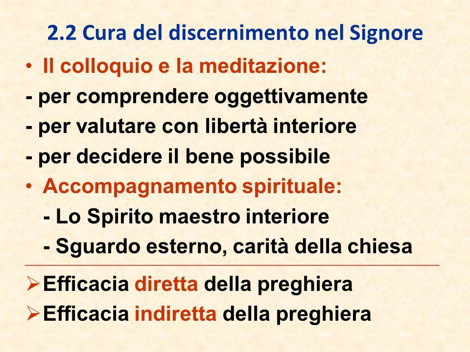 2.2 Cura del discernimento nel Signore Il colloquio e la meditazione: - per comprendere oggettivamente - per valutare con libertà interiore - per deci