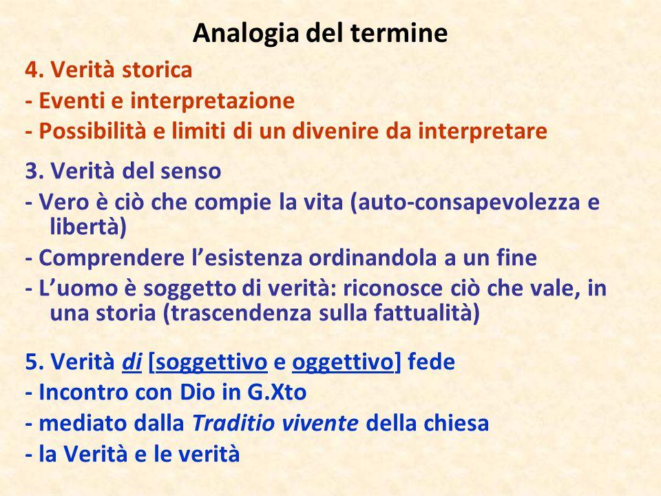 Analogia del termine 4. Verità storica - Eventi e interpretazione - Possibilità e limiti di un divenire da interpretare 3. Verità del senso - Vero è c
