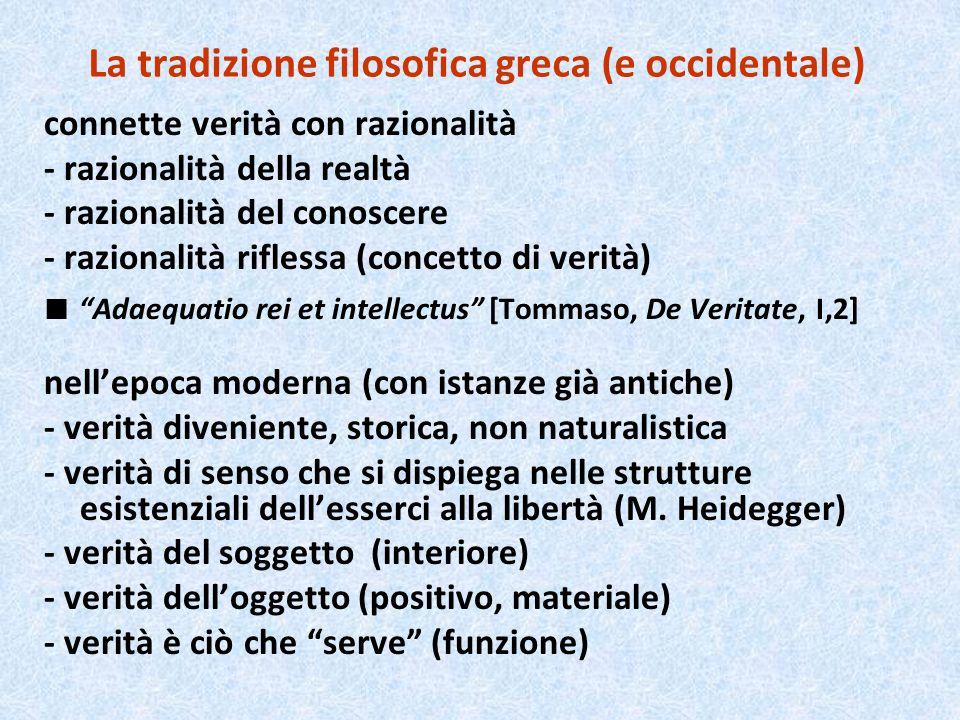 La tradizione filosofica greca (e occidentale) connette verità con razionalità - razionalità della realtà - razionalità del conoscere - razionalità ri