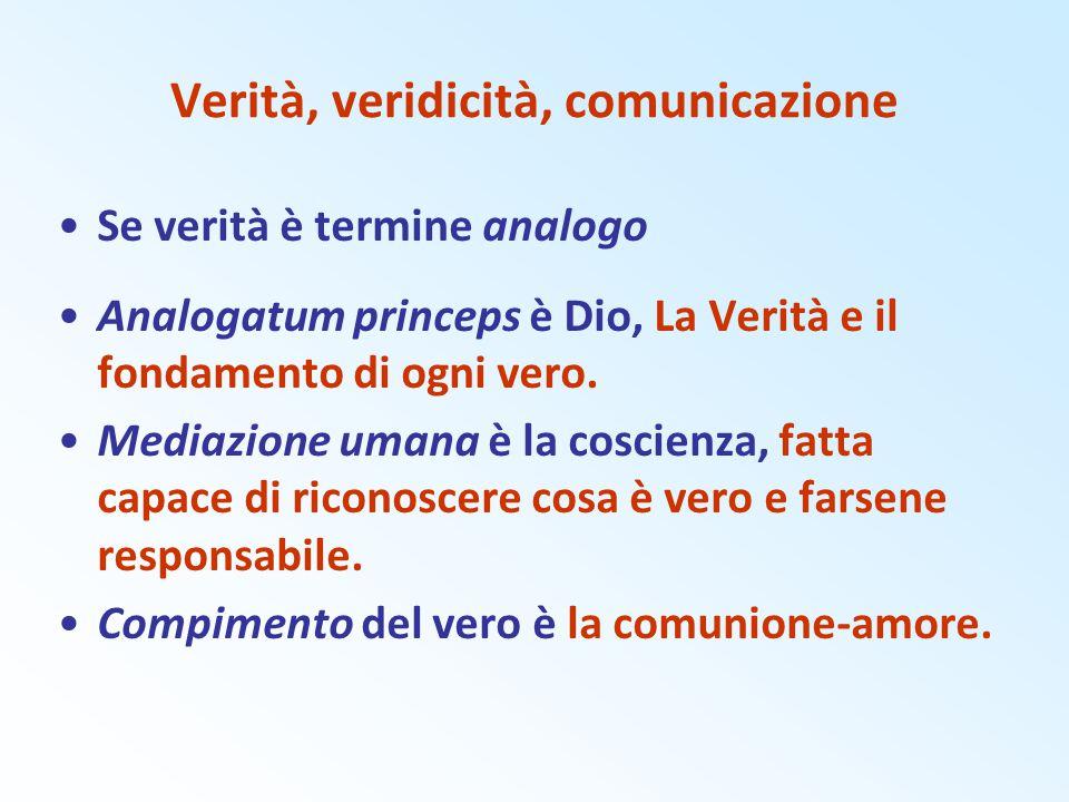 Verità, veridicità, comunicazione Se verità è termine analogo Analogatum princeps è Dio, La Verità e il fondamento di ogni vero. Mediazione umana è la