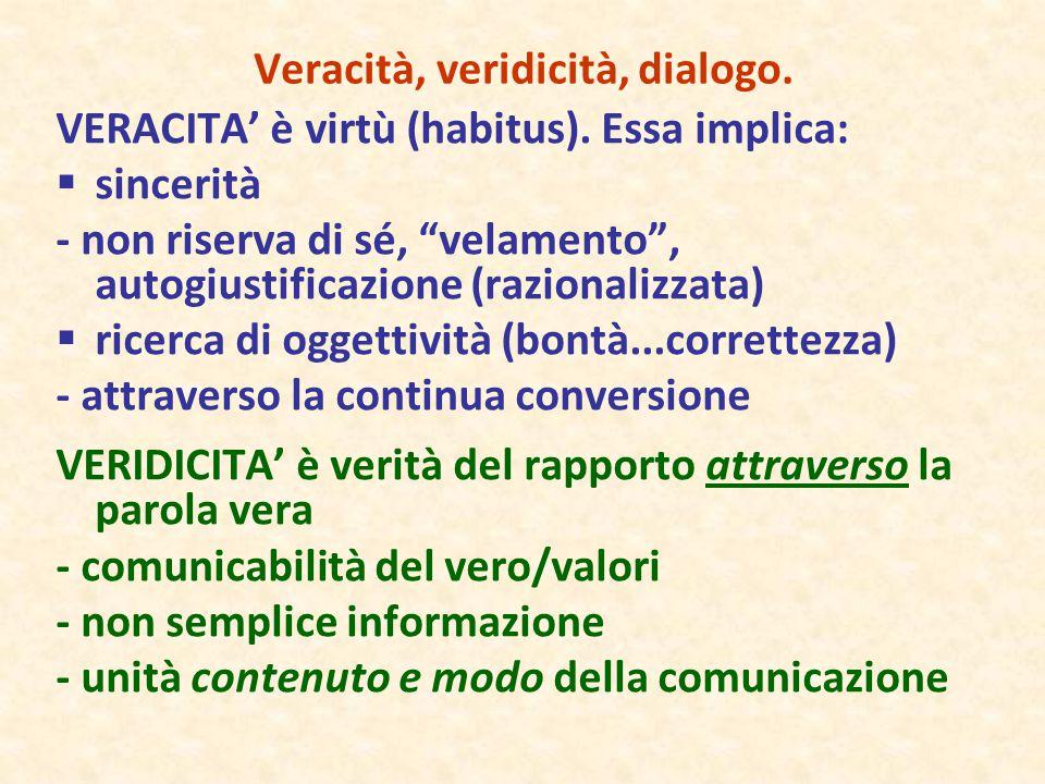 """Veracità, veridicità, dialogo. VERACITA' è virtù (habitus). Essa implica:  sincerità - non riserva di sé, """"velamento"""", autogiustificazione (razionali"""