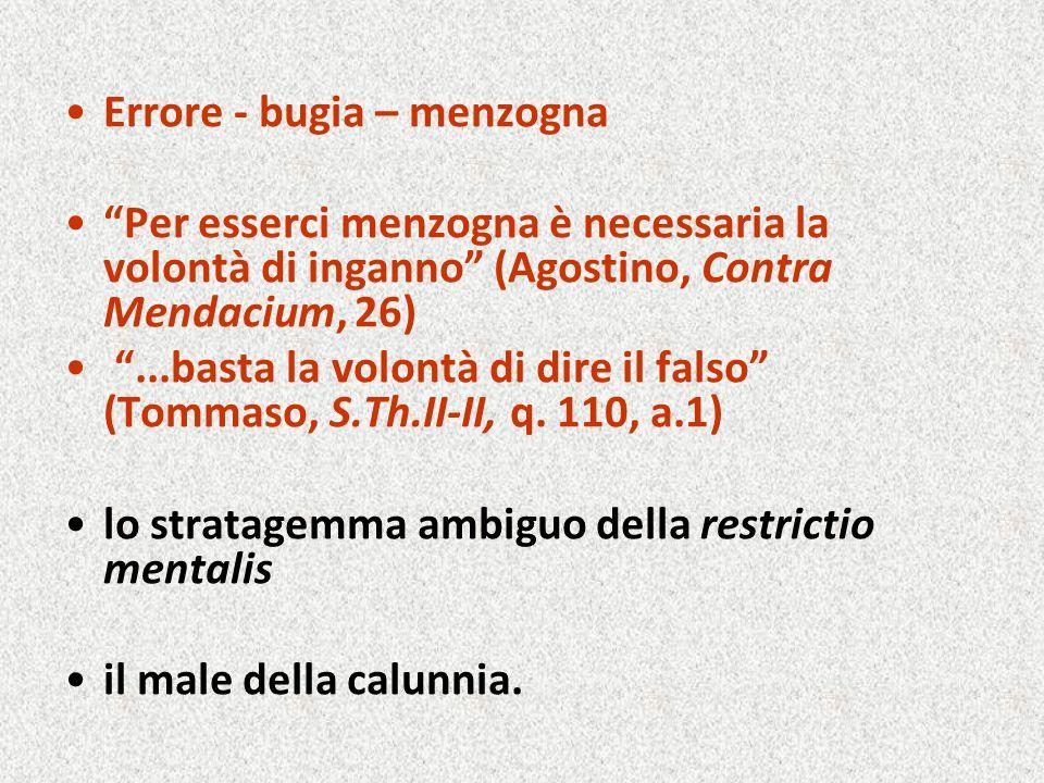 """Errore - bugia – menzogna """"Per esserci menzogna è necessaria la volontà di inganno"""" (Agostino, Contra Mendacium, 26) """"...basta la volontà di dire il f"""