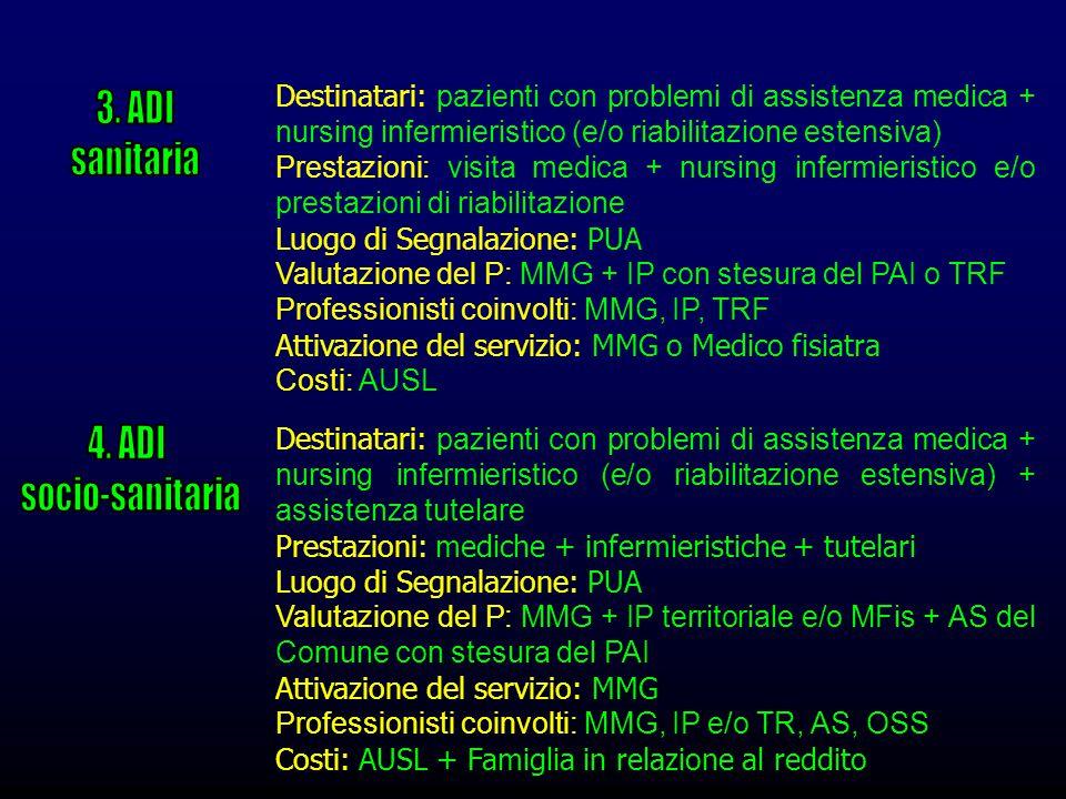 Destinatari: pazienti con problemi di assistenza medica + nursing infermieristico (e/o riabilitazione estensiva) Prestazioni: visita medica + nursing