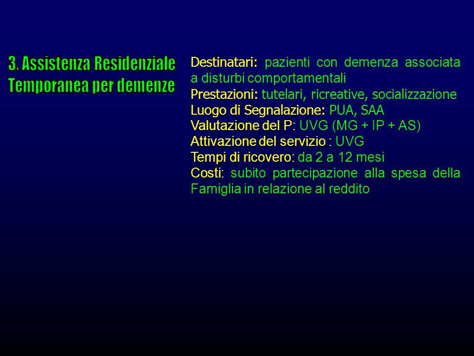 Destinatari: pazienti con demenza associata a disturbi comportamentali Prestazioni: tutelari, ricreative, socializzazione Luogo di Segnalazione: PUA,