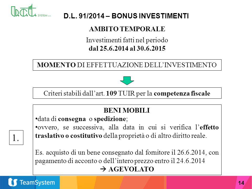 14 D.L. 91/2014 – BONUS INVESTIMENTI AMBITO TEMPORALE Investimenti fatti nel periodo dal 25.6.2014 al 30.6.2015 MOMENTO DI EFFETTUAZIONE DELL'INVESTIM