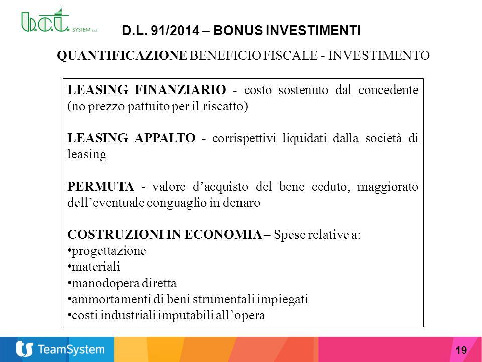 19 D.L. 91/2014 – BONUS INVESTIMENTI LEASING FINANZIARIO - costo sostenuto dal concedente (no prezzo pattuito per il riscatto) LEASING APPALTO - corri