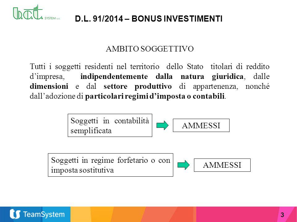 3 D.L. 91/2014 – BONUS INVESTIMENTI AMBITO SOGGETTIVO Tutti i soggetti residenti nel territorio dello Stato titolari di reddito d'impresa, indipendent