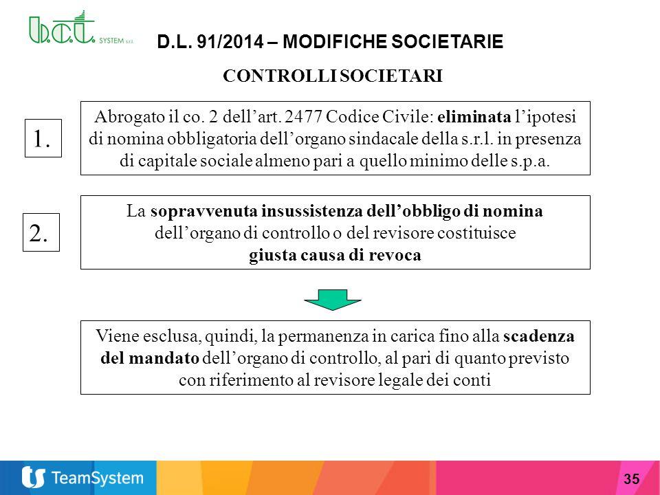 35 D.L. 91/2014 – MODIFICHE SOCIETARIE CONTROLLI SOCIETARI Abrogato il co. 2 dell'art. 2477 Codice Civile: eliminata l'ipotesi di nomina obbligatoria