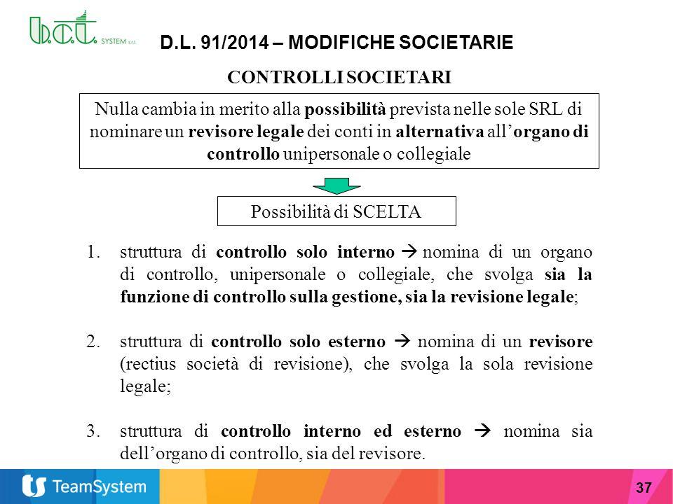 37 D.L. 91/2014 – MODIFICHE SOCIETARIE CONTROLLI SOCIETARI Nulla cambia in merito alla possibilità prevista nelle sole SRL di nominare un revisore leg